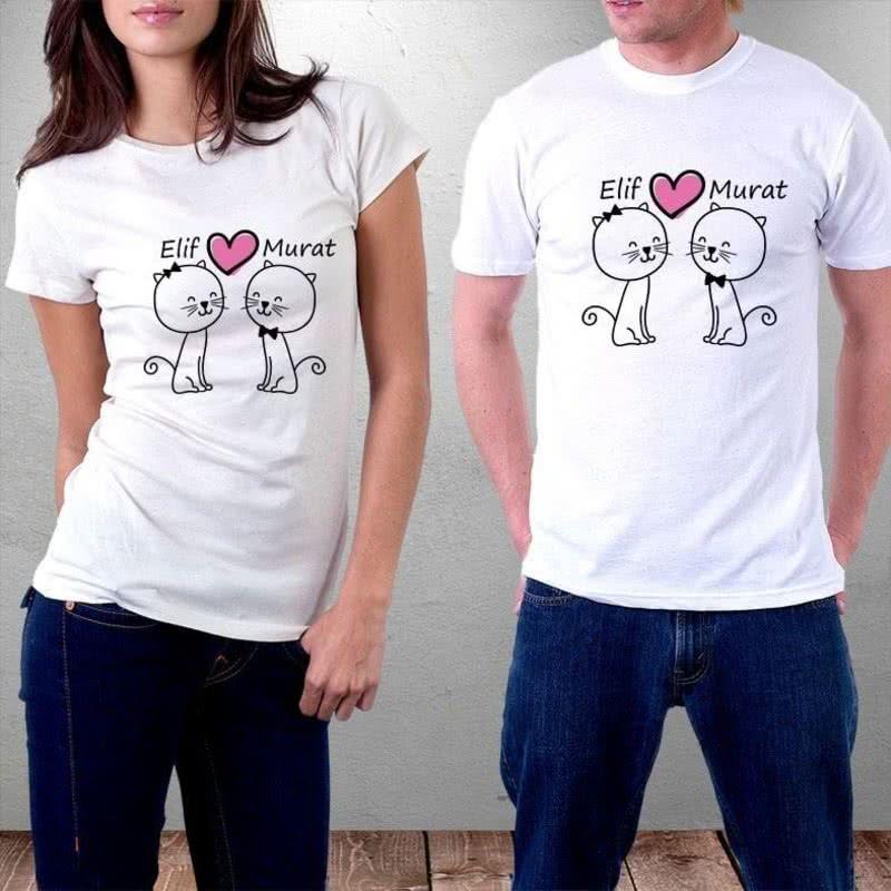 Aşık Kediler Tasarımlı Sevgili Tişörtü