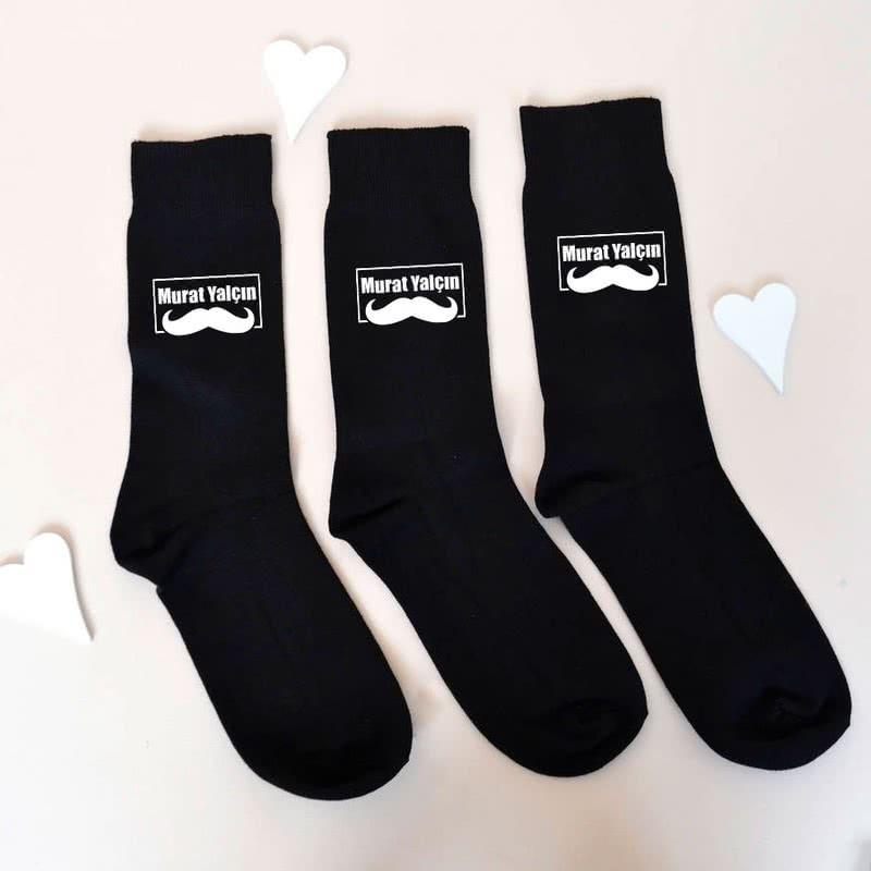 Bıyık Tasarımlı Erkeğe Hediye 6lı Çorap Seti