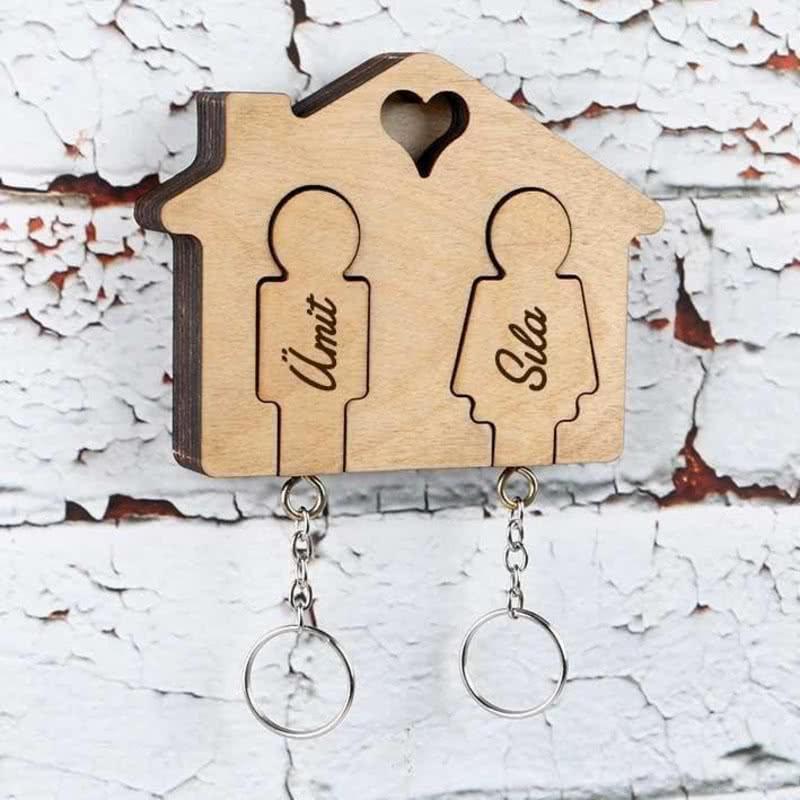 Çift Anahtarlıklı İsimli Ev Anahtarlığı