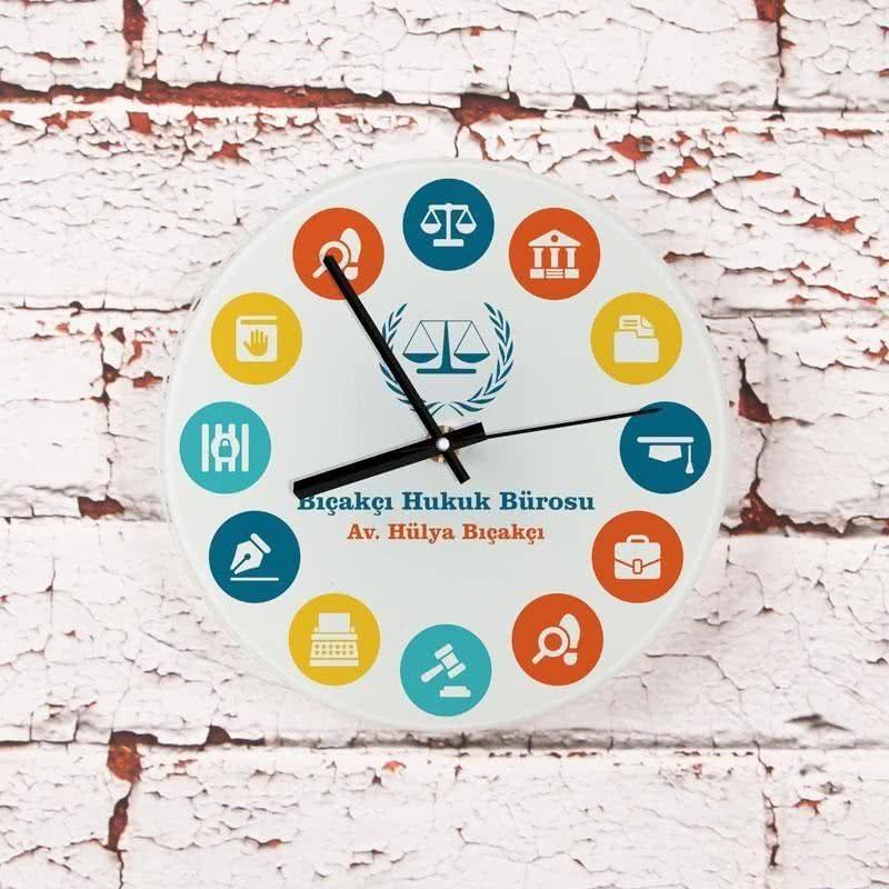 En Dişli Avukatlara Hediye Mini Cam Duvar Saati