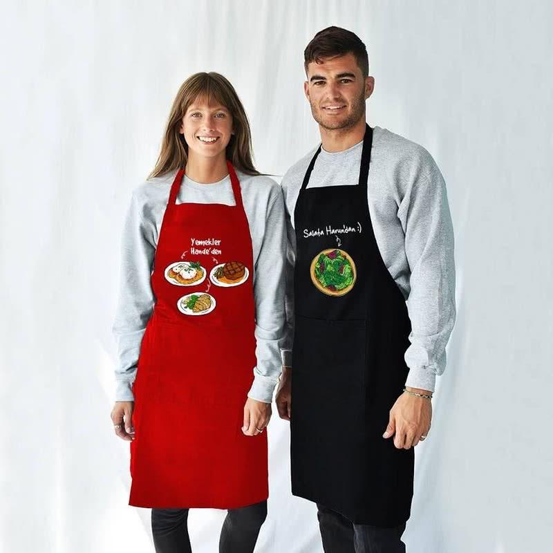 Evli Çiftlere Hediye İsim Yazılı Mutfak Önlüğü