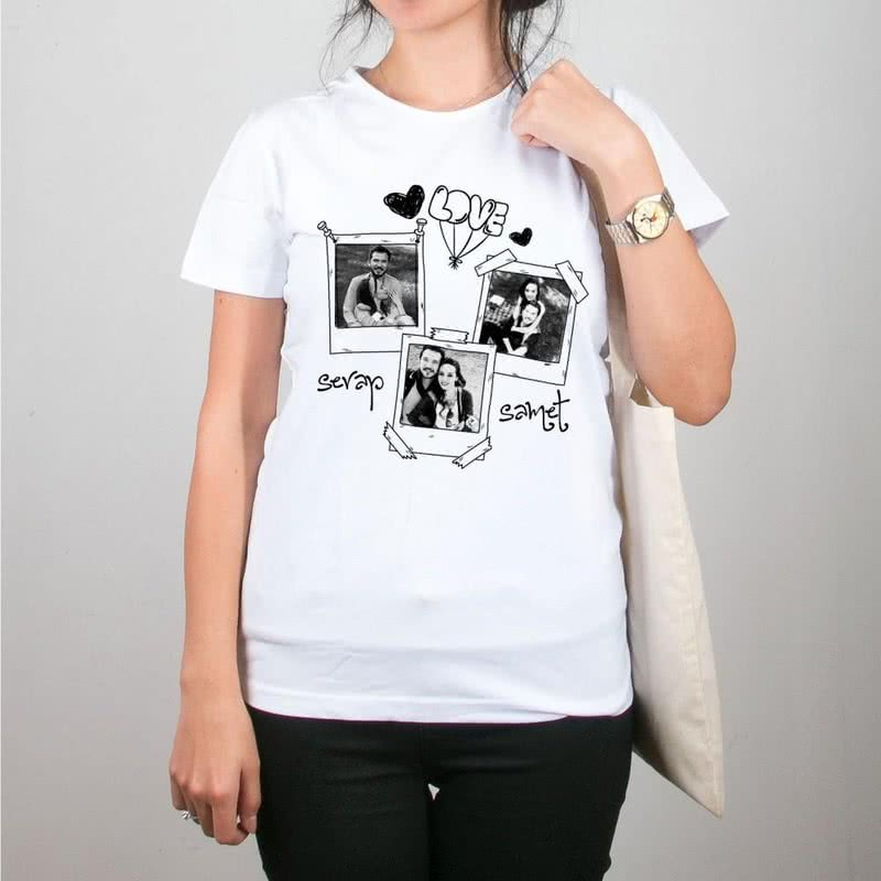 Fotoğraf Baskılı Bez Çanta Tişört Kombini