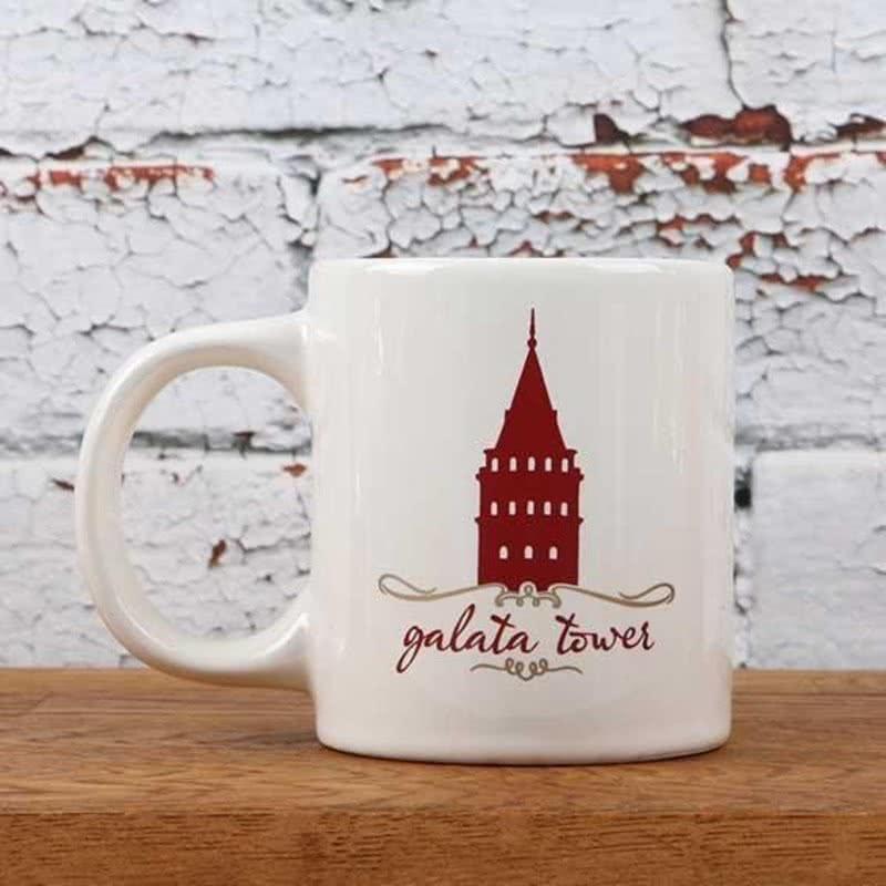 Galata Kulesi Tasarımlı Kırmızı-Beyaz Kupa