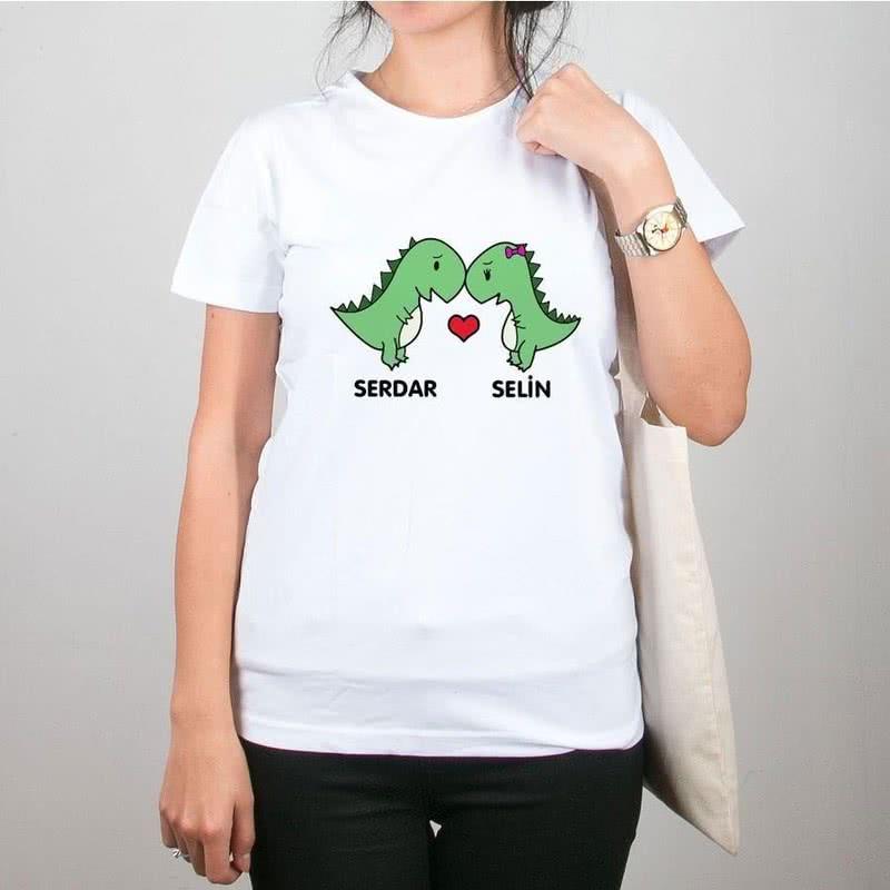 İsim Yazılı Aşık Dino Tişört Çanta Kombini