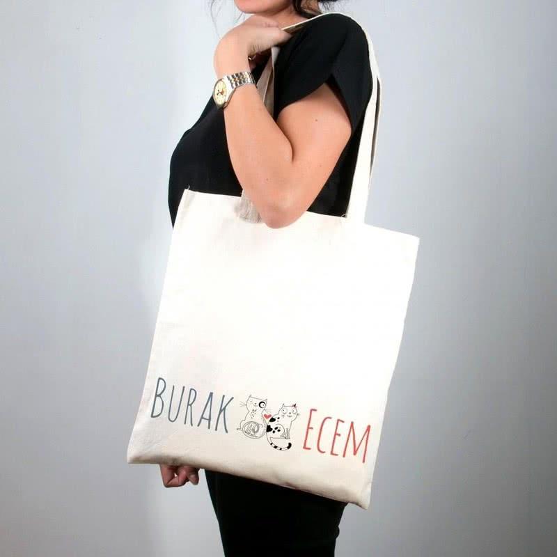 İsim Yazılı Kedi Baskılı Bez Çanta Tişört Kombini