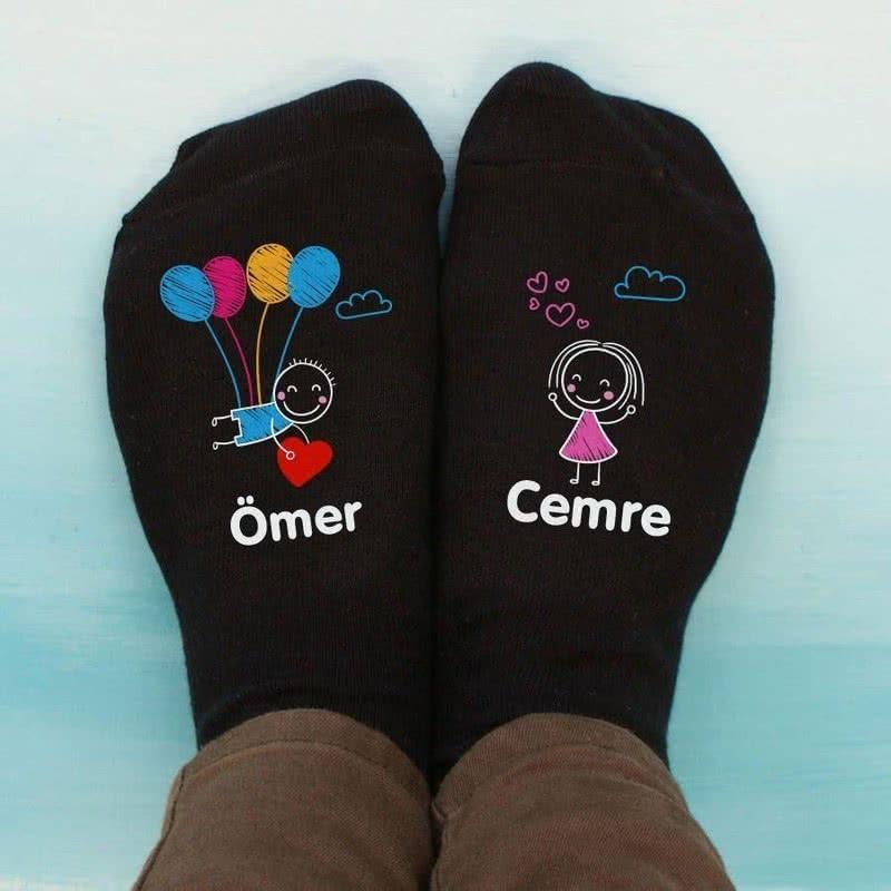 İsim Yazılı Renkli Balonlu Aşık Çift 4lü Çorap Seti