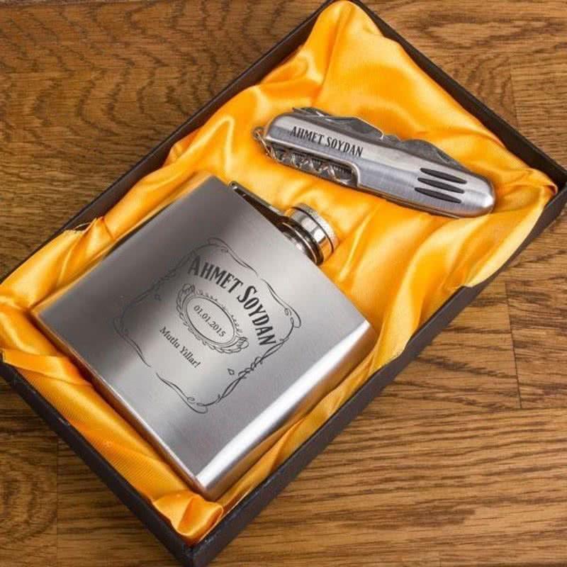 Jack Daniel s Tasarımlı Matara & Çakı Seti