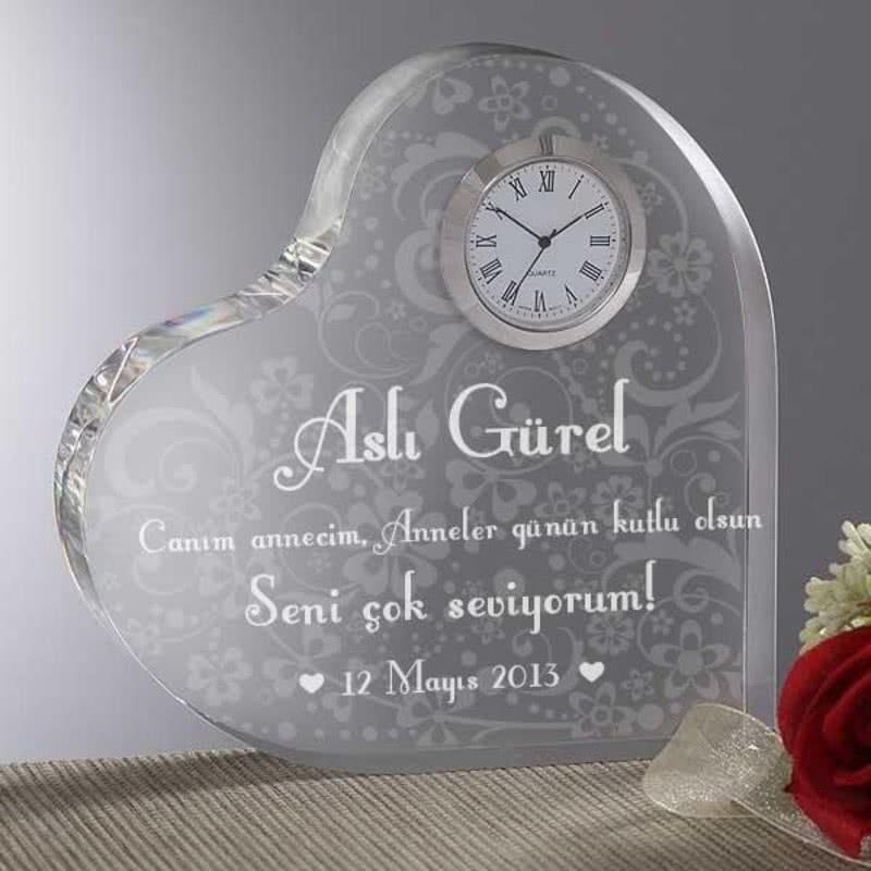 Kalp Masa Saati Anneler Günü Özel Çiçek Desenli