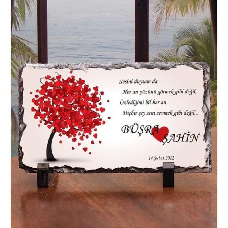 Kalp Yapraklı Ağaç Mesajlı Taşfoto