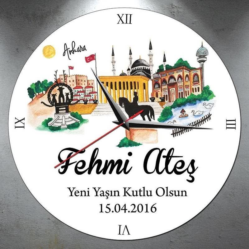 Kişiye Özel Ankara Tasarımlı Duvar Saati