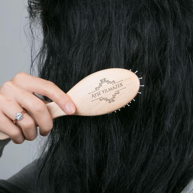 Kişiye Özel Bayana Hediye Doğal Ahşap Saç Fırçası