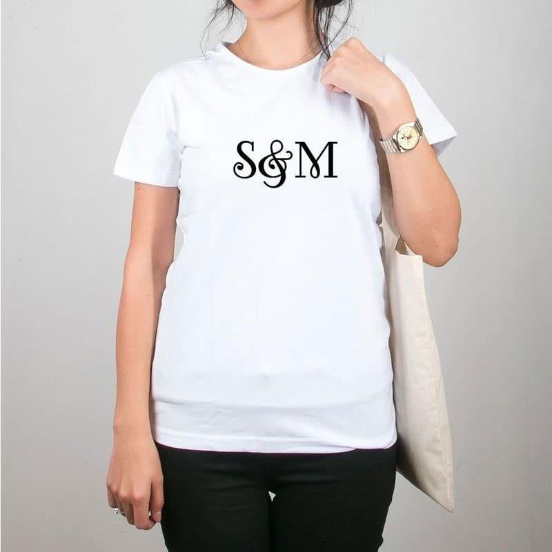 Kişiye Özel Harf Baskılı Tişört Çanta
