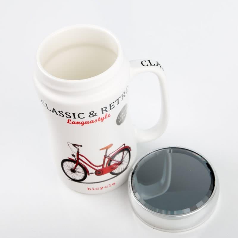Klasik Bisiklet Tasarımlı Ayna Kapaklı Kupa