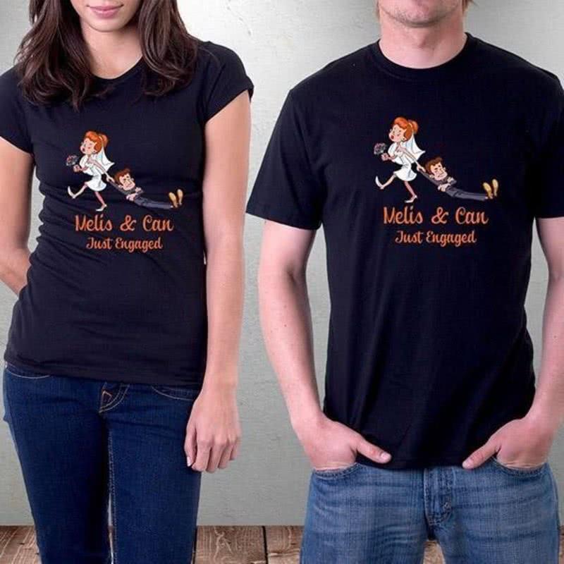 Nişanlılara Özel İsimli Çift Tişörtü