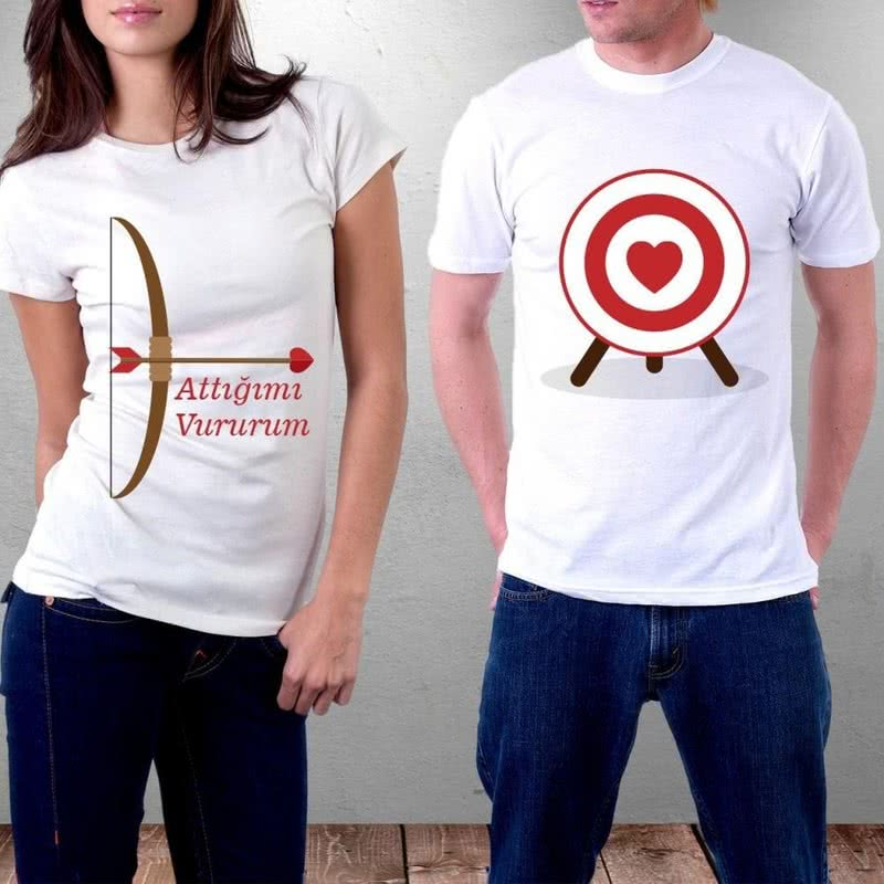 Ok ve Yay Tasarım Çiftlere Özel Tişörtü
