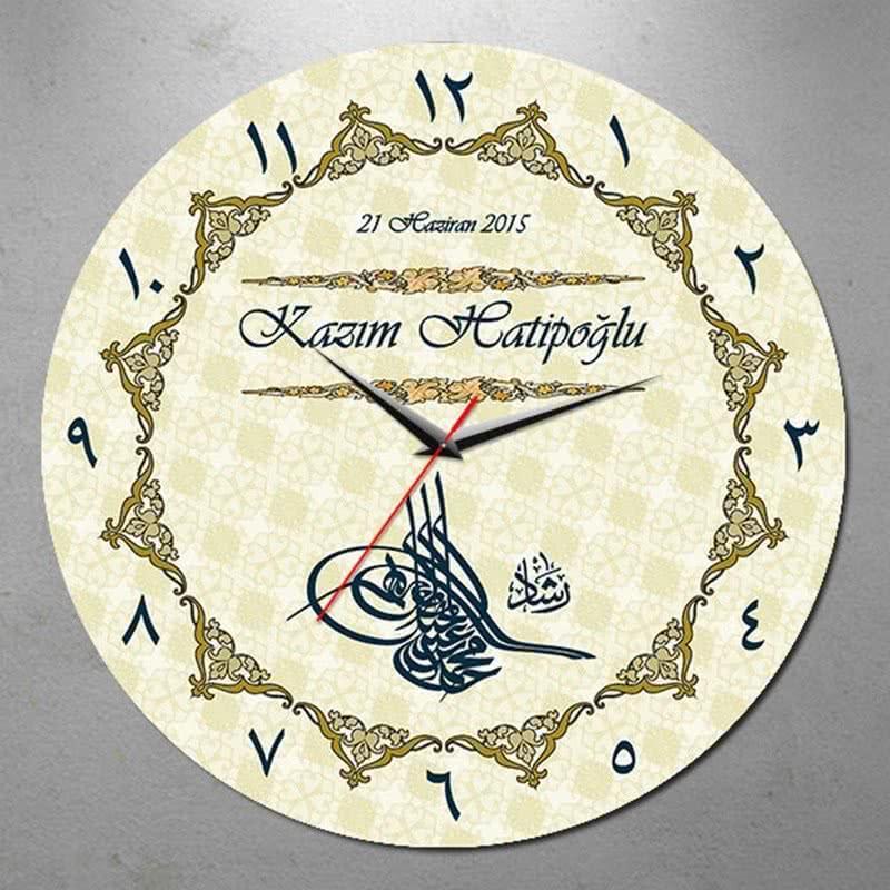 Osmanlı Tuğralı İsme Özel Duvar Saati