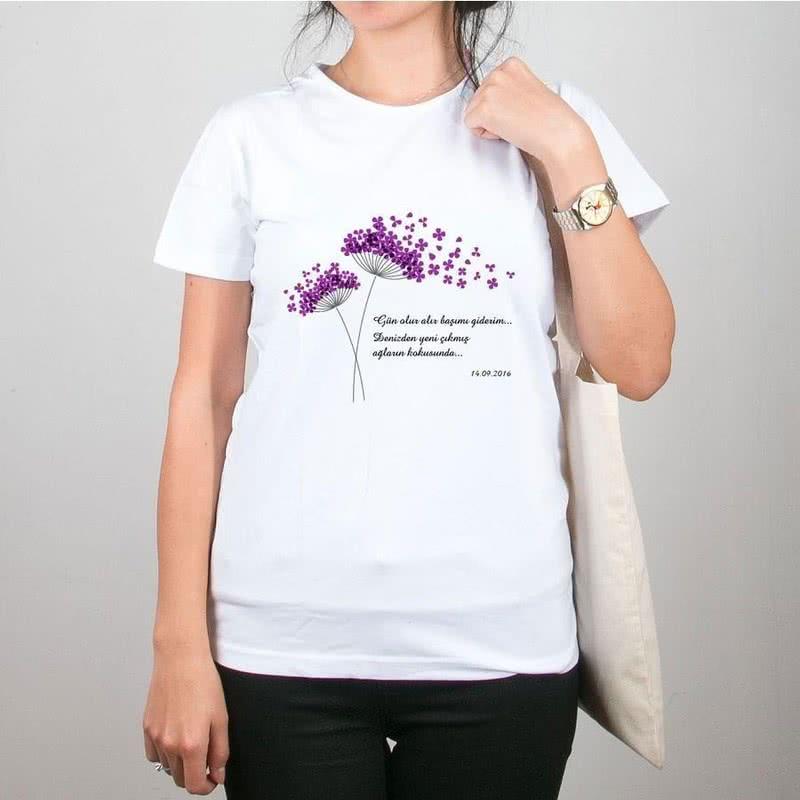 Rüzgarda Uçuşan Çiçekler Tasarımlı Bez Çanta Tişört