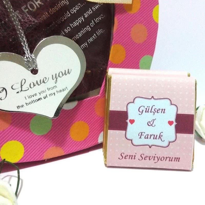 Seni Seviyorum Mesajlı Sargılı Çikolata