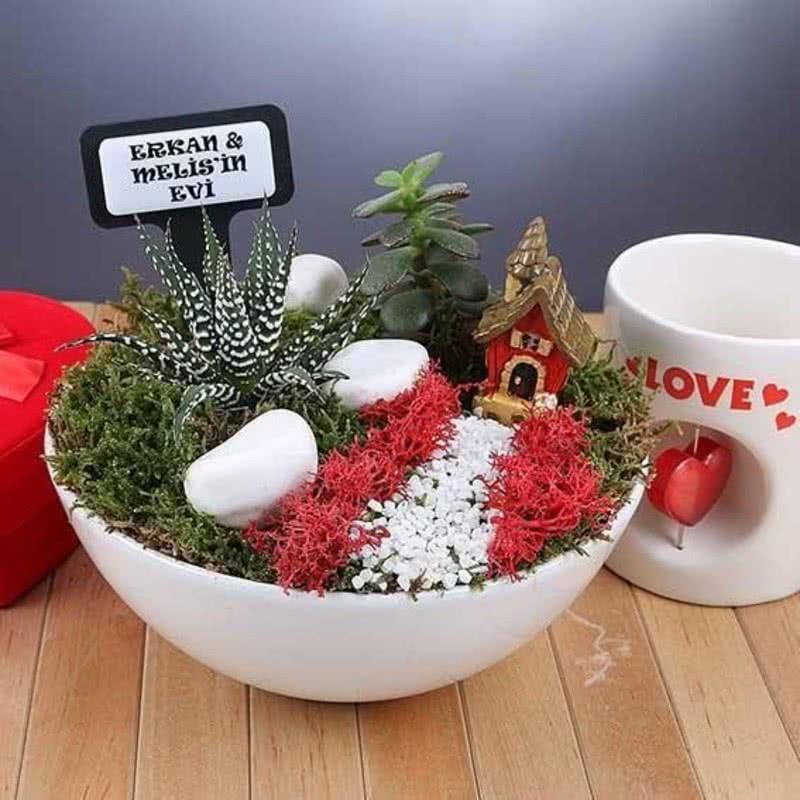 Sevgiliye Hediye Aşk Evi Minyatür Bahçe