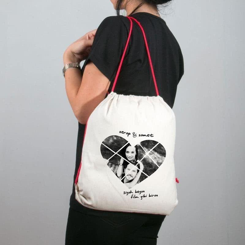 Sevgiliye Hediye Fotoğraf Baskılı Bez Çanta Tişört