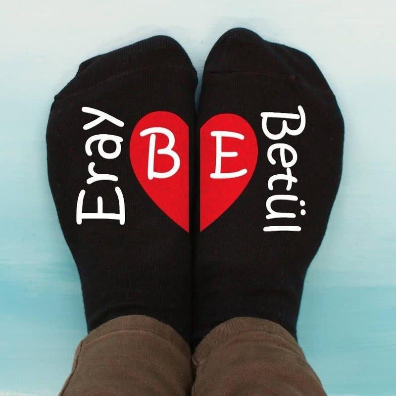Sevgiliye Hediye Kalp Baskılı İsim Yazılı 4lü Çorap Seti
