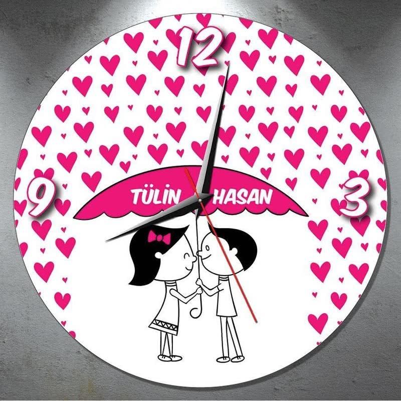 Sevgiliye Hediye Kalpli Duvar Saati
