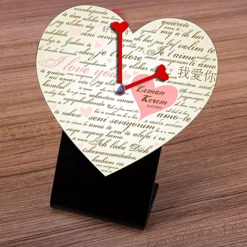 Sevgiliye Özel Kalp Masa Saati