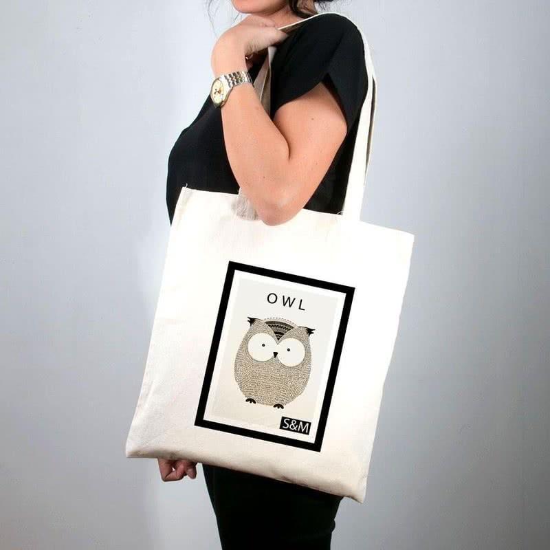 Sevimli Baykuş Baskılı Tişört Çanta