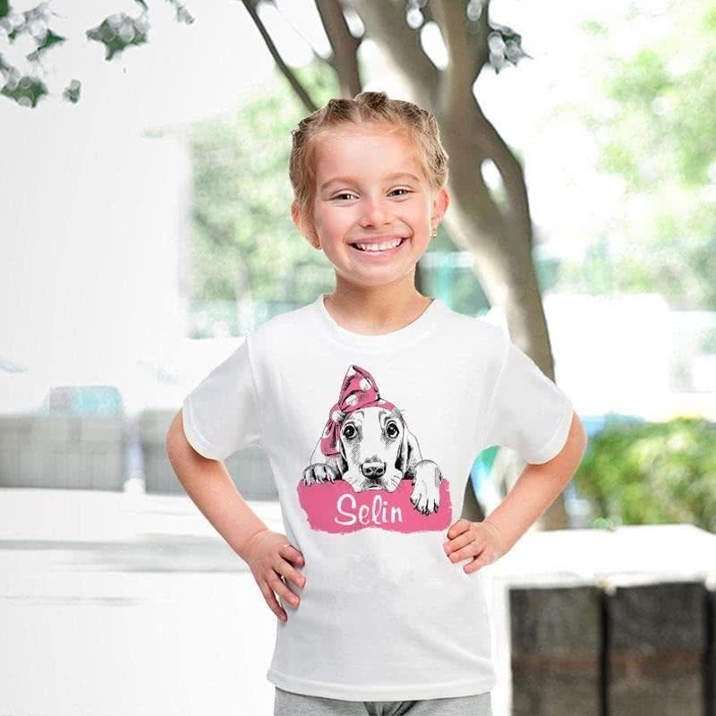 Sevimli Köpek Baskılı İsim Yazılı Tişört