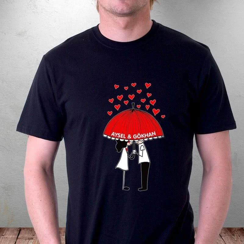 Sırılsıklam Aşık Çift Baskılı Tişört