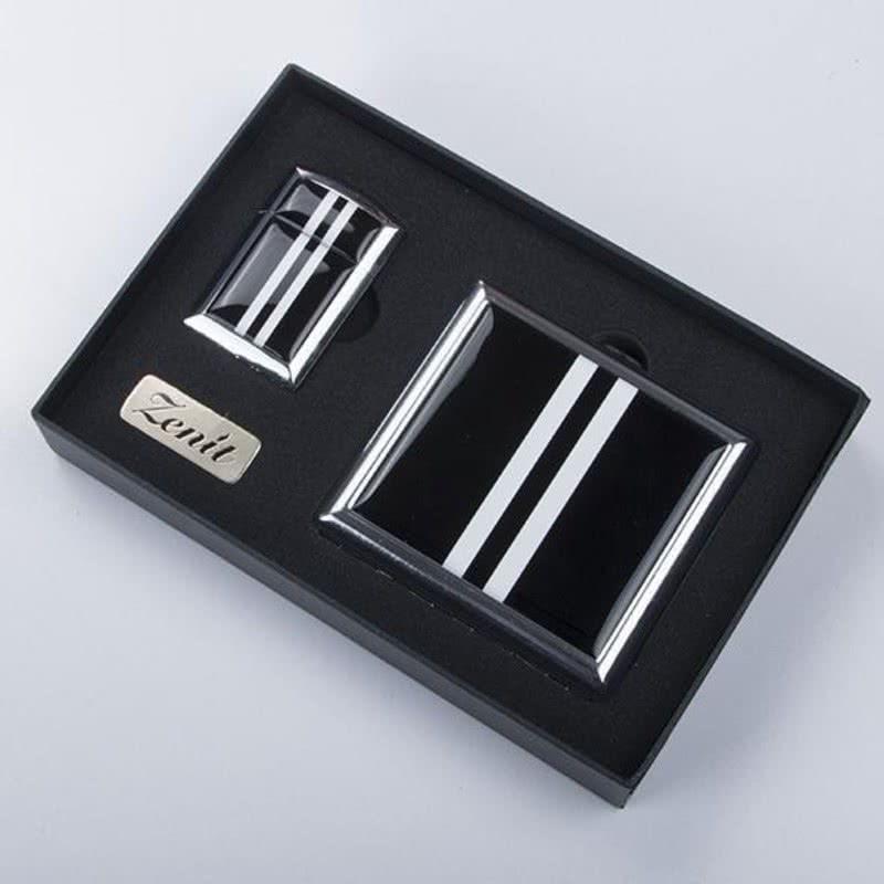 Siyah Beyaz Tasarımlı Çakmak Sigara Tabakası Seti