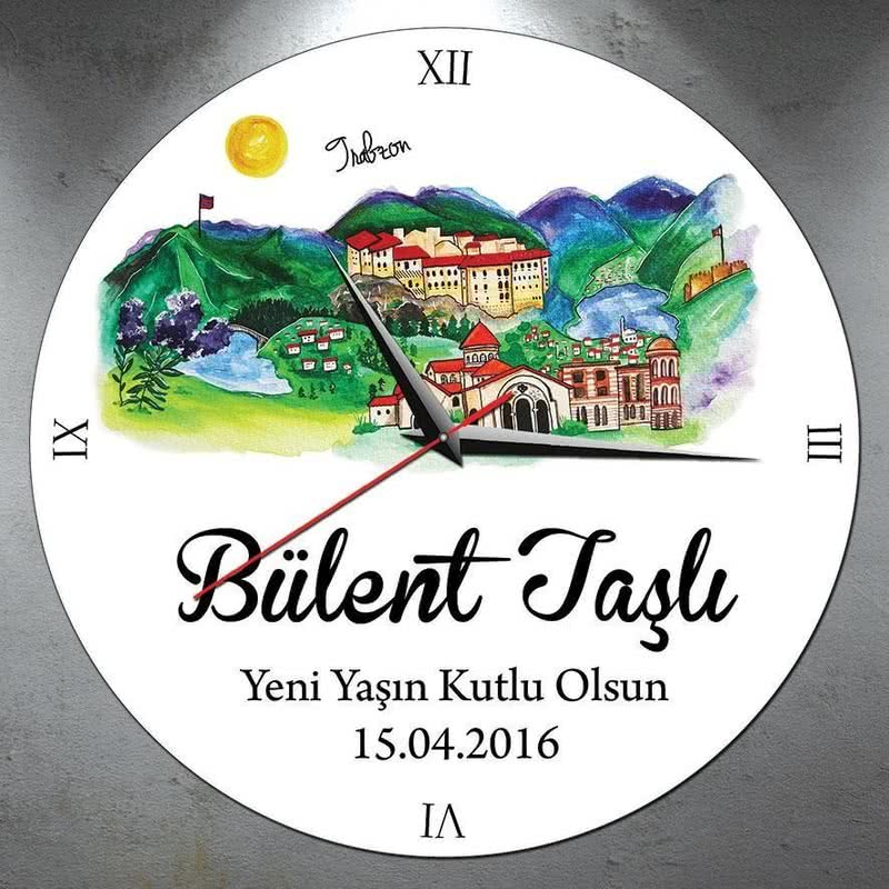 Trabzon Şehrine Özel İsimli Duvar Saati