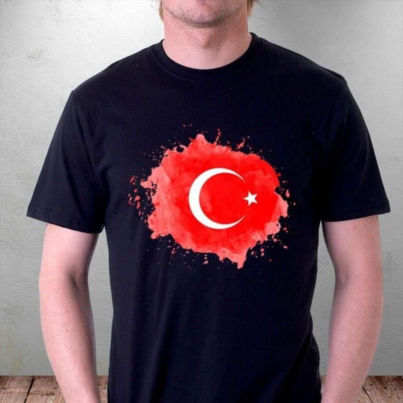 Türk Bayrağı Tasarım Baskılı Tişört