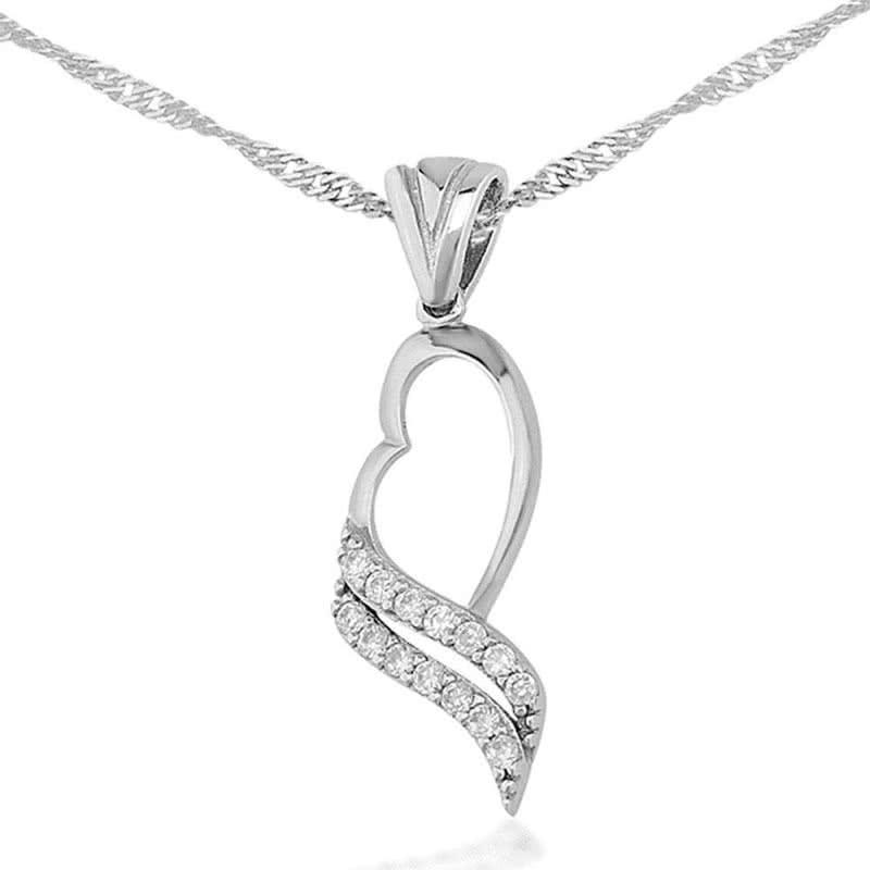 Zirkon Taşlı Kalbin Akışı Gümüş Kolye