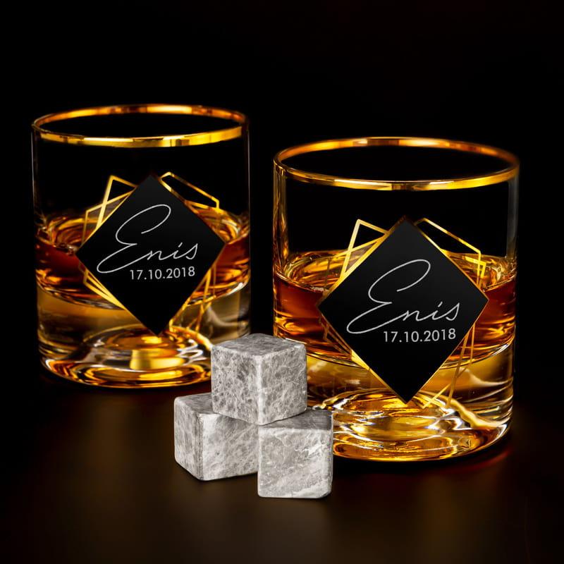 İmza Tasarımlı İsim ve Tarih Yazılı 2li Gold Serisi Viski Kadeh Seti