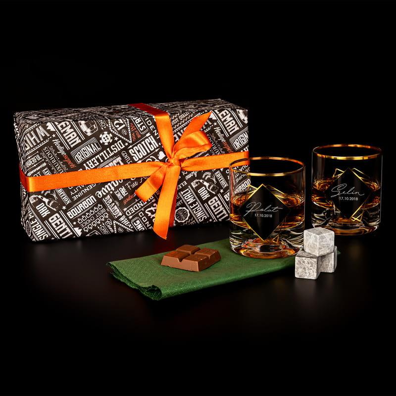 İmza Tasarımlı Kişiye Özel Premium 2 li Altın Varaklı Viski Kadeh Seti
