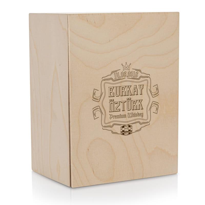 İsim ve Tarih Yazılı Premium Ahşap Kutulu Viski Kadeh Seti