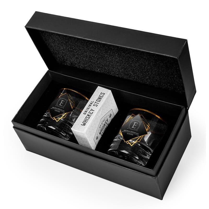 Kişiye Özel Logo Tasarımlı 2li Gold Serisi Viski Kadeh Seti