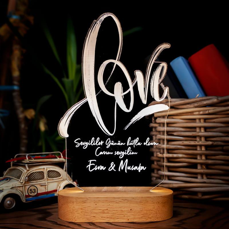 Love Yazılı Sevgiliye Hediye Led Lamba