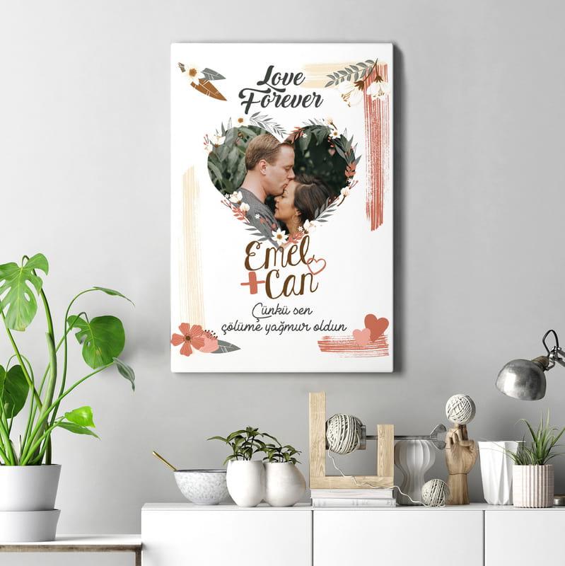 Sevgiliye Hediye Bohem Tasarımlı Fotoğraflı Kanvas Tablo 40x60