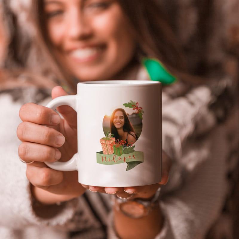 Yeni Yıl Hediyesi Fotoğraf Baskılı Porselen Kupa Bardak