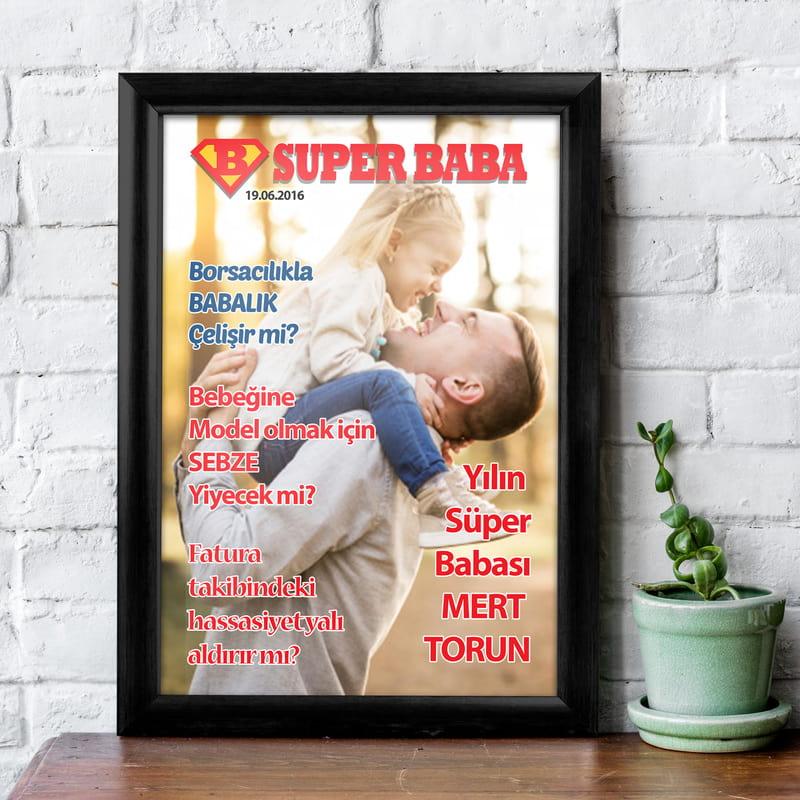 Yılın Süper Babası Çerçeveli Dergi Kapağı