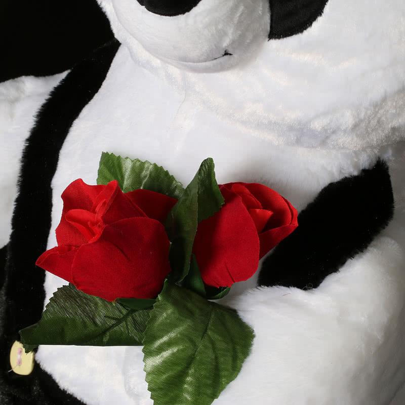 80 Cm Ayakta Gül Tutan Panda Peluş Ayı