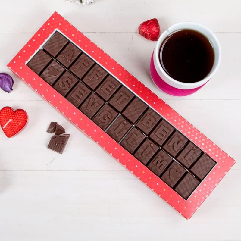 Affet Beni Sevgilim Mesajlı Harf Çikolata