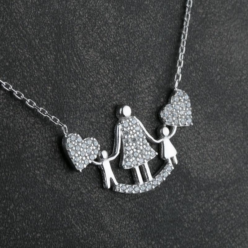 Anneye Hediye Anne ve Çocuk Tasarımlı Gümüş Kolye