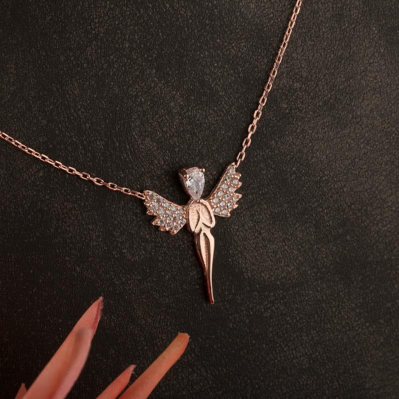 Melek Tasarımlı Rose Kaplama Gümüş Kolye