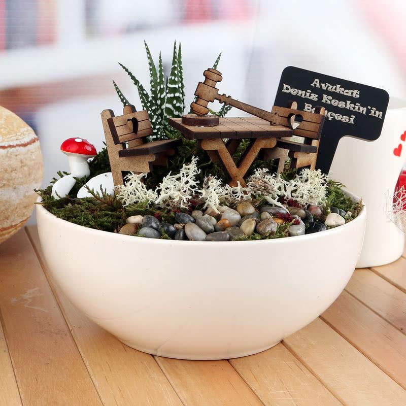 Başarılı Avukat Arkadaşa Hediye Canlı Minyatür Bahçe