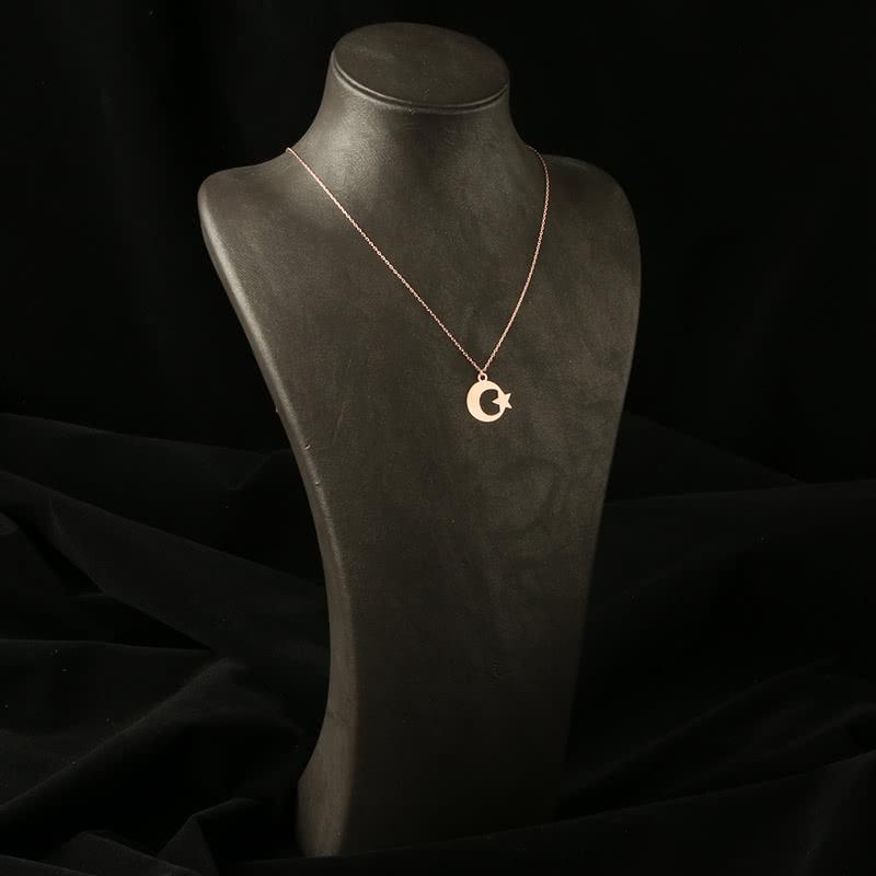 Ay Yıldız Tasarımlı Rose Gümüş Kolye