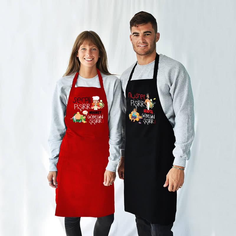Çiftlere Özel Esprili 2li Mutfak Önlüğü