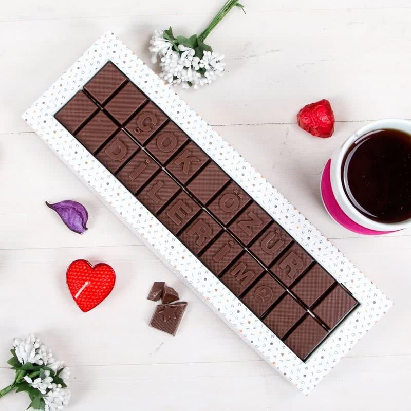 Çok Özür Dilerim Mesajlı Harf Çikolata